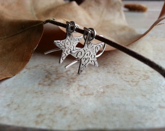 Star Silver Clay Earrings. 1.39in side (1 cm) (PN6)