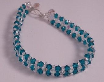 Swarovski clear and turquoise bracelet