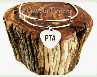 Parent Teachers Association Bracelet, Pta Bangle, Handmade PTA Jewelry, PTA Bracelet, Parents Teachers Association Jewelry, PTA Gift