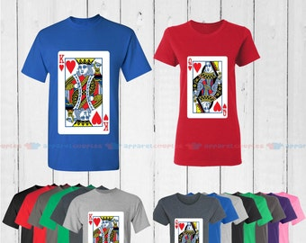 King of Hearts & Quenn of Hearts - Matching Couple Shirts - His and Her T-Shirts - Love Tees