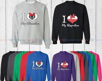I Love My Girlfriend & I Love My Boyfriend - Matching Couple Sweatshirt - His and Her Sweatshirts - Love Sweaters