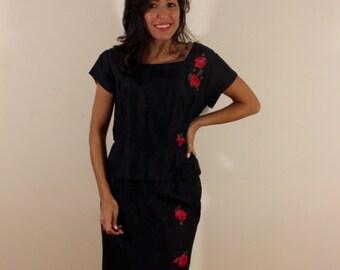 Vintage 1960s Renmor Rose Peplum Dress