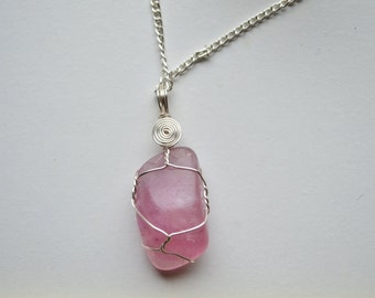 Wire Wrapped Purple Fluorite Necklace
