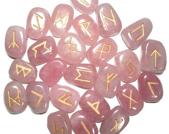ROSE QUARTZ Runes Set for reiki healing, complete with pouch wicca pagan spirituality rune stones tumbled stones