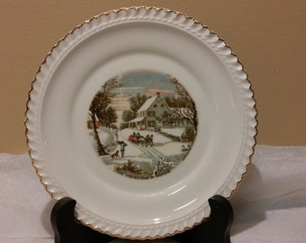 """Harkerware USA Currier & Ives 6.25"""" The Homestead in Winter Plate"""