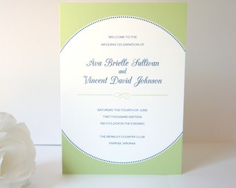 Blue and Green Wedding Program, Green Wedding Ceremony Programs, Modern Wedding Programs, Folded, Order of Ceremony - DEPOSIT