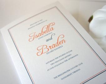 Modern Wedding Program, Orange Wedding Program, Orange and Navy Wedding, Modern Ceremony Program, Order of Ceremony - DEPOSIT