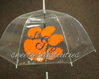 Tiger Paw Unbrella, Bubble Unbrella with Tiger Paw and 3 letter monogram. You will be the envy of your friends.