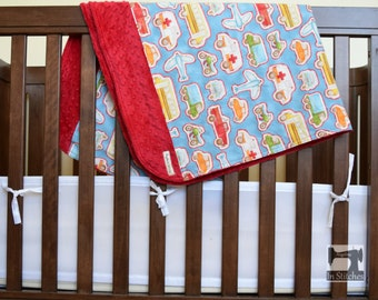 Baby blanket, red cuddle minky, cars, trucks, buses, planes, motorcycles, blue, red, transportation blanket