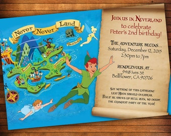 peter pan invitation template - peter pan party etsy