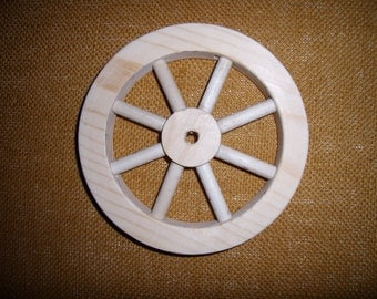 "Handcrafted, unfinished 6"" wooden wheel Part No 1401-F"