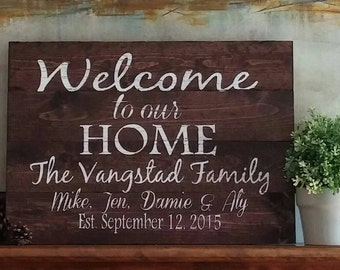 Custom Wood Sign - Welcome Sign - Family name