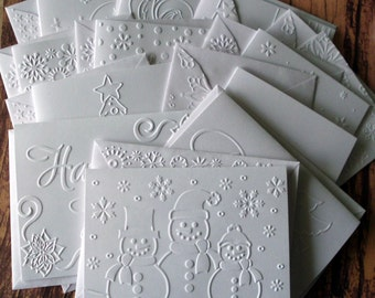 12 Assorted Christmas Cards Set, 12 Designs, White Embossed Christmas Cards, Winter Stationery, Embossed Snowmen, Angel, Snowflakes, Santa