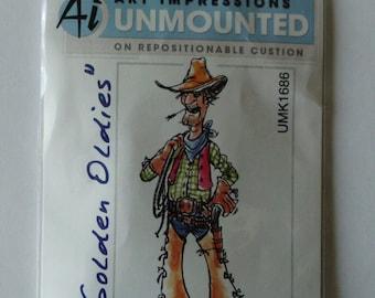 Cowboy Stamp, Art Impressions Slim, Art Impressions Oldies, Ai Cowboy Stamp, Cling Rubber Stamp, Country Stamp, Western Stamp, Cowboy Hat