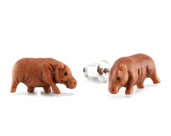 "Hand Carved - ""Hippo"" - Sabo Wood with Ebony Wood Inlay - Stud Earring - African Safari"