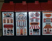 Vintage Collectible Row Houses Decanters Red Roof Wheaton Glass