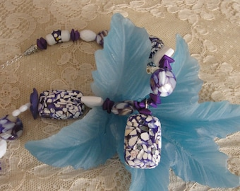 Purple & White Necklace Set