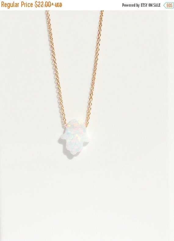 white opal hamsa necklace rose gold
