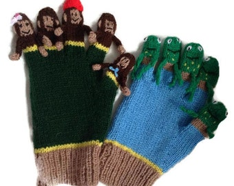 Educational Hand knitted counting gloves, little monkey novelty gloves,frog lover gloves, learn to count and sing props, school nursery gift