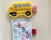Yellow School Bus & ABC - 123 Notebook Paper Feltie Hair Clips - First Day of School Barrettes for Girls, Toddlers, and Babies (2 clip set)