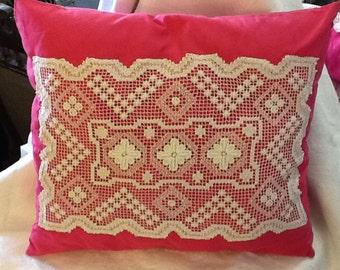 Hand crochete'd vintage cushion