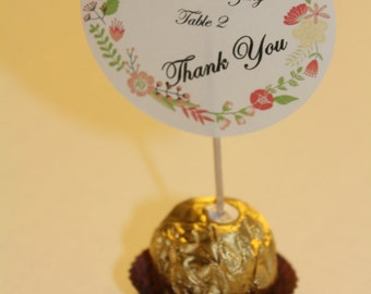 Ferrero Rocher Chocolate Place cards to give a special touch to your wedding/Events