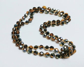 Stunning 50s carnival glass necklace double stranded