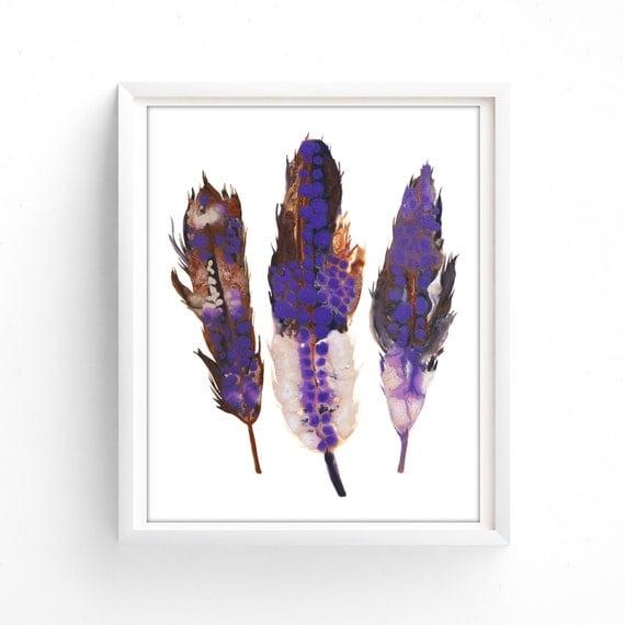 Purple Feathers Printable, Woodland, Print, Download,Wall Art, Boho Feathers Print, Brown, Purple