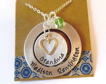 Large Grandma Necklace, Washer Necklace , Mommy Necklace - Hand Stamped Jewelry - Family Necklace - Mothers Necklace -Childrens Names -