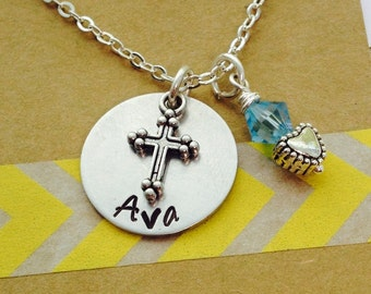 Cross Necklace, Personalized Cross Necklace, Cross Name Necklace, Hand Stamped  Necklace Confirmation Necklace Personalized Cross Necklace,