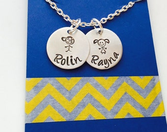 Children's Name Necklace, Family Necklace, Mothers Necklace - Personalized Necklace - Gift for Grandma -Kids Names, Stick figure necklace