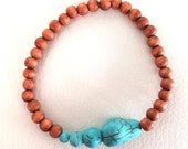 Wood beaded bracelet with turquoise accents, wood and turquoise bracelet, boho bracelet