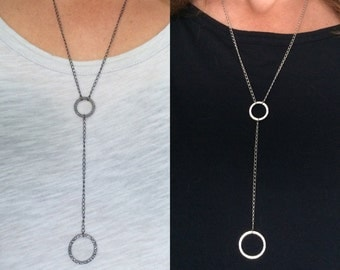 Silver, gun metal or gold Y necklace, silver, gun metal or gold necklace with hammered circle pendants