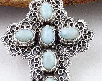 PENDANT LARIMAR, larimar, Christian, natural stone jewelry cross jewelry, stone of inner peace and communication da82.1