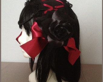 headband lace gothic lolita black and red