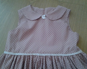 Girls Handmade Dusty PInk/White Polka Dot Vintage Style Dress Age 7