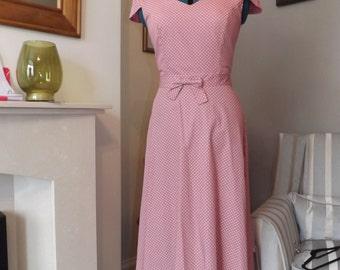 Pink/ White Polka Dot Handmade Vintage Style Dress UK 8