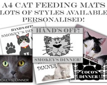 Personalised pet cat A4 Laminated feeding food mat, pet mat, feeding mat, Cat food mat , Cat Placemats - Easy wipe clean