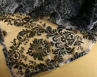 "55"" Square BLACK Flocked BAROQUE DAMASK Sheer Organza Overlay Topper"