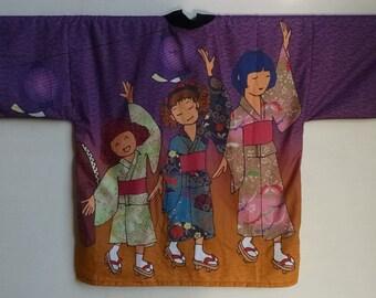 Japanese Hapi: 3 Girls at Obon with taiko