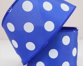 "2.5"" Satin Royal Blue & White Polka Dot Ribbon - U307-2501"