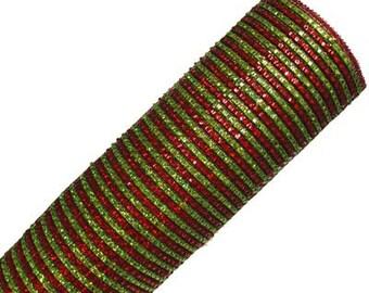 "21"" Lime Red Stripe Deco Mesh, Lime Metallic Mesh, Lime Stripe Metallic Deco Mesh, Deco Poly Mesh Wreath Supplies (10 yards) - RE1042T7"