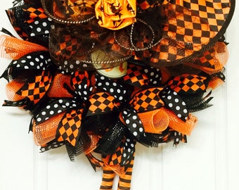 One Bad Witch, Orange & Black Halloween Witch Wreath, Deco Mesh Halloween Wreath