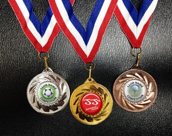 Gold, Silver or Bronze Medals with personalised medal centres