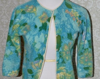Vintage Women's Cardigan Cropped Sweater Hand Screen Print French Angora & Lambswool Angelon By Darlene
