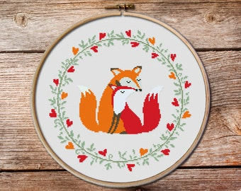 Two Foxes, Fox Cross stitch pattern, Cute red fox, Counted cross stitch pattern, Cross Stitch Pattern, modern cross stitch pattern