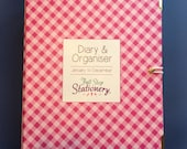 2016 Diary & Organiser - Pink gingham check with teal inside cover