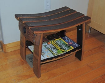 Wine barrel stave multi use bench / stool