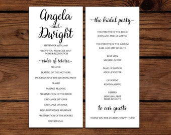 Printable Calligraphy Wedding Program - Printable, Customized, Digital File - 9 x 4