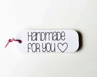 "White ""Handmade For You"" Tags - 3"" Handmade For You"" Favor Tags"
